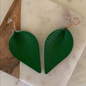 BOGO! Green Leather Petal Earrings